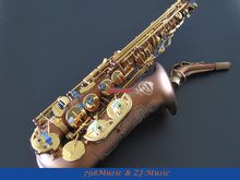 PRO Matte Coffee and Gold Lacquer Keys Alto Saxophone Sax High F# Abalone Shell Key With Case