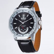 Auto Date Display Relogio PU Leather Band Analog Mens Casual Clock Wrist Men Automatic Mechanical Watch  LL