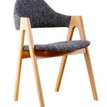 Silla de comedor de tela madera liso estilo europeo Vintage, silla de comedor moderna minimalista de madera de roble, silla de comedor de diseño clásico, silla de madera y tela