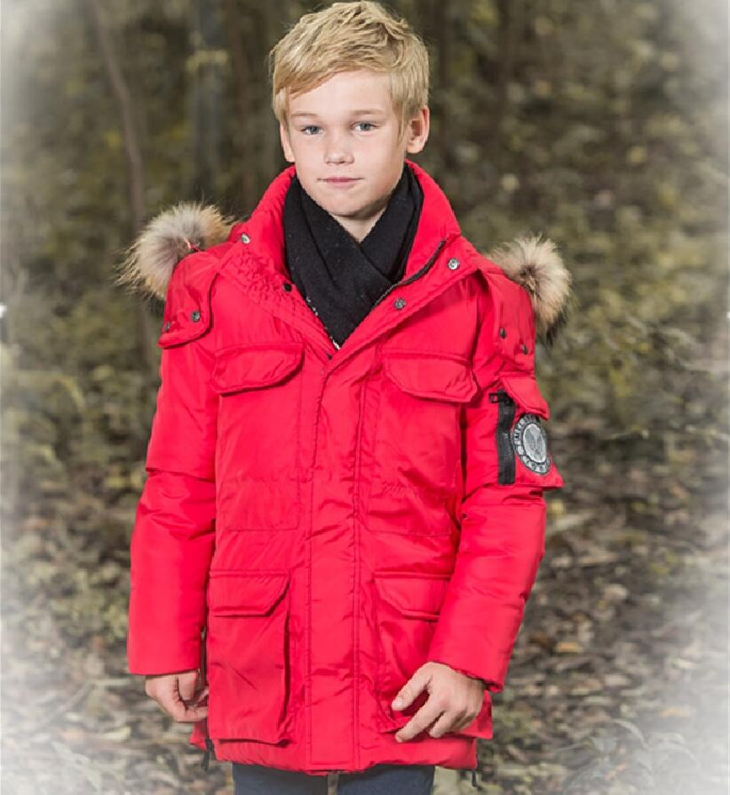 Top Boys Down Coats Warm Fashion Outerwear Winter Parkas For Boy Child 90% White Duck Down Jackets With Hooded Size 140-170 top quality fashion parent child 90% white duck down jacket medium long mother and son hooded cotton padded down family coats