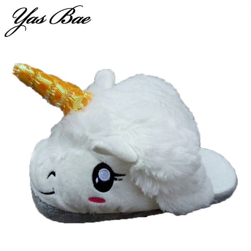 Women Cute Funny Cartoon Emoji Unicorn Anime Animal House Slipper Home Shoe Adult Plush Pantufa Pantoufle Chausson Licorne Coral lovely animal unicom little twin stars gemini unicorn cartoon home furnishing slipper indoor mute ma am slipper kawai toy gift