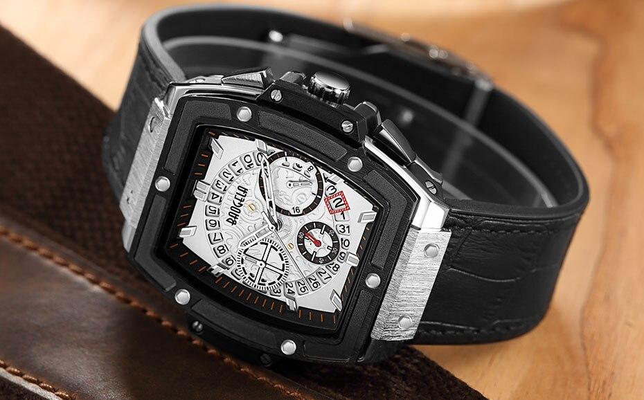 Baogela Relógios Cronógrafos De Luxo Homens Pulseira