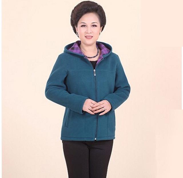 2015 novas Mulheres Hoodies & Camisolas outerwear roupas plus size mãe espessamento tecido de lã sólida jaqueta casaco N590