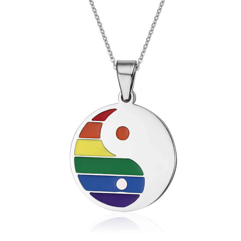 Women Men Stainless Steel Rainbow Yin Yang Pendant Necklace for Gay Lesbian Pride Free Chain