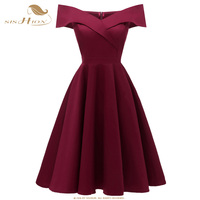 SISHION Summer Dresses off shoulder Wine Red Navy Blue Swing Women Sundress Rockabilly Dress VD0841