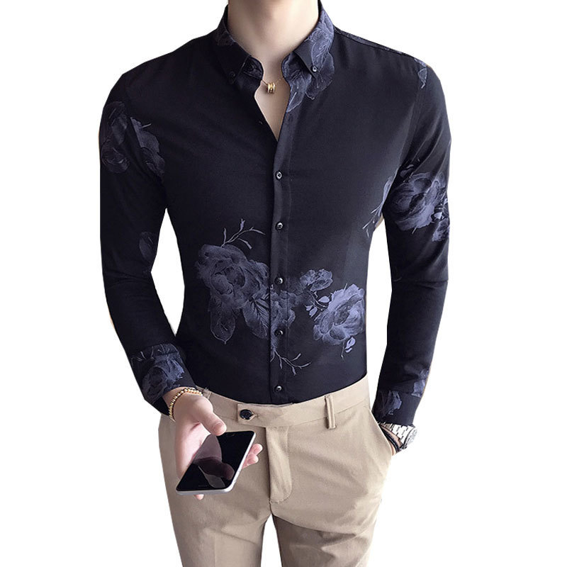 Rose Print Shirt Long Sleeve Luxury Decent Elegant Shirt Male Men Dress Shirts Business  ...