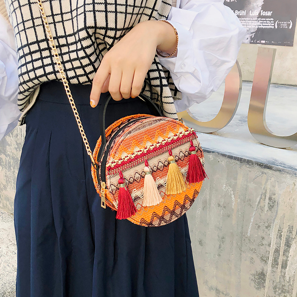 Women Tassel Chain Small Bags national wind round bag packet Lady Fashion Round Shoulder Bag Bolsos Mujer#A02 75