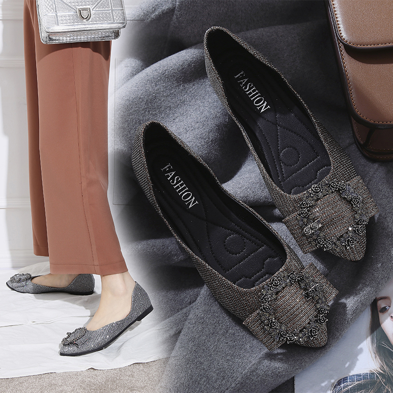 Chowaring Spring Autumn Women Ballet Flats Shoes Pointed Toe Slip-On Crystal Buckle Woman Dress Party Shoes Ladies Zapatos Mujer 2017 summer spring women ballet flats round toe slip on shoes woman flower bowknot loafers vintage zapatos mujer canvas