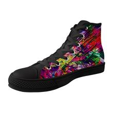 ELVISWORDS Painting Graffiti Art Mens High-top Vulcanized Shoes Casual Cool Canvas for Teenager Boy Flats