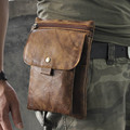Hot Sale Top Quality Genuine Real Leather Cowhide men vintage Messenger Bag Pouch Waist Pack Bag