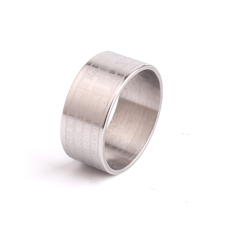 free shipping 10mm silver plate Bible verses cross 316l Stainless Steel finger rings for menwholesale