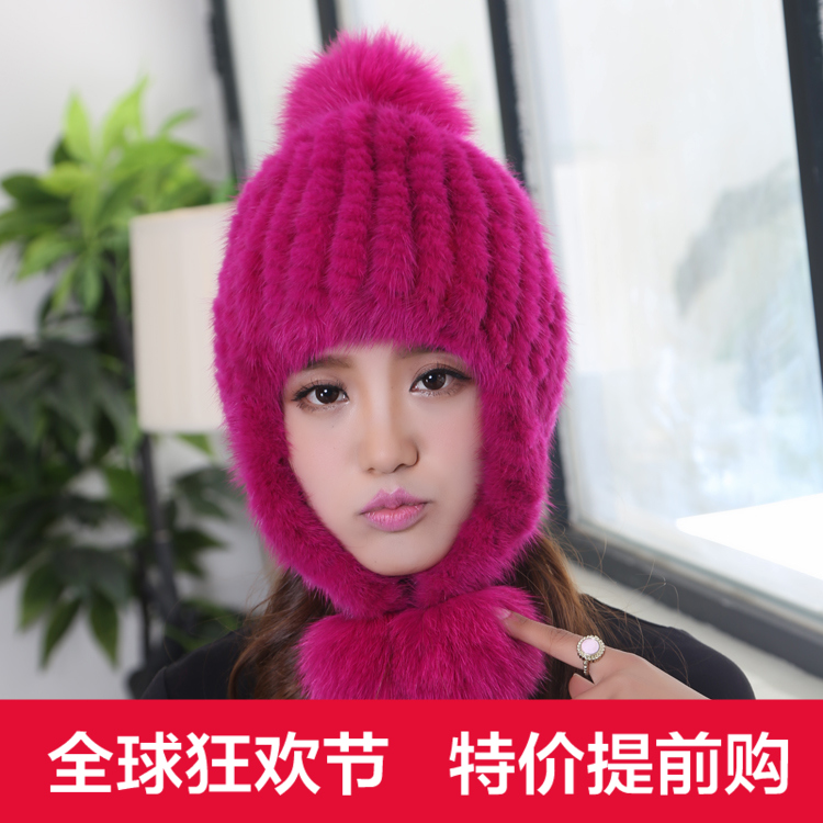 Mink hat knitted mink fur hat fox fur ball big ear protector cap thermal mink cap female import mink hand knitted pineapple mink hat fur hat thermal millinery rabbit hair hat