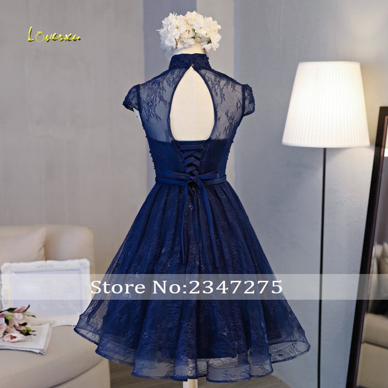 Loverxu Gorgeous High Neck Lace Knee Length Homecoming Dresses 2019 Appliques Beaded A-Line Short Graduation Dress For Party