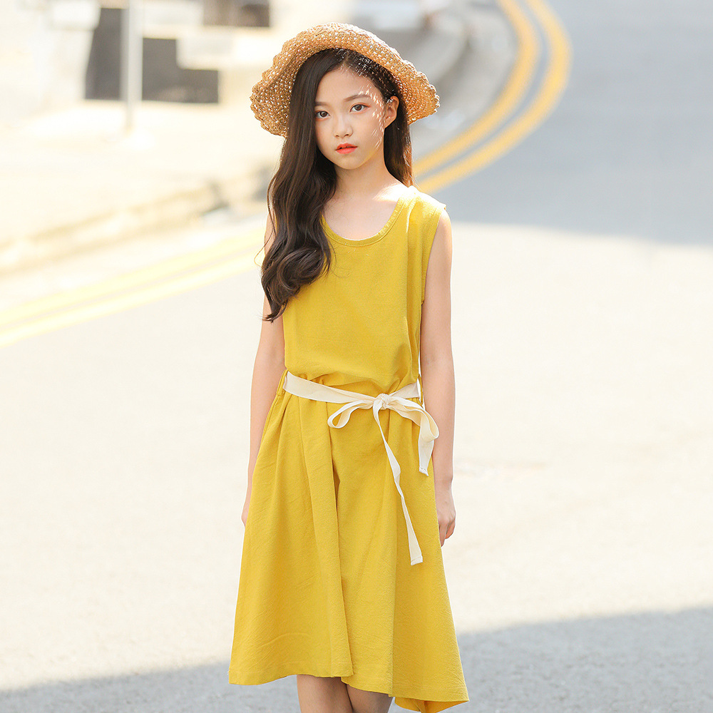 Babygirl Dress Girl Sleeveless Elegant Dress Sashes Beach Tunics Cotton Linen Princess Party Dress Summer Sundress 7 8 9 10 Year