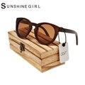 2017 Ronda gafas de Sol de Madera Rojo Lente Du Madera negro gafas de Sol UV400 Gafas Redondas Gafas De Sol De Bambú