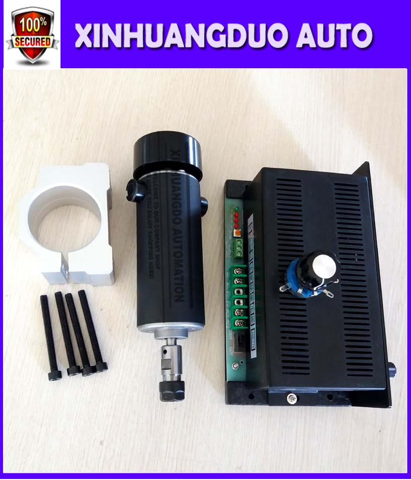 cnc spindle 500W DC110V air cooled 0.5kw milling Motor & spindle speed power converter AC110/220V &52mm clamp