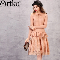 Artka Women S Autumn New Solid Color Lace Patchwork Knitted Dress Vintage Stnad Collar Petal Sleeve