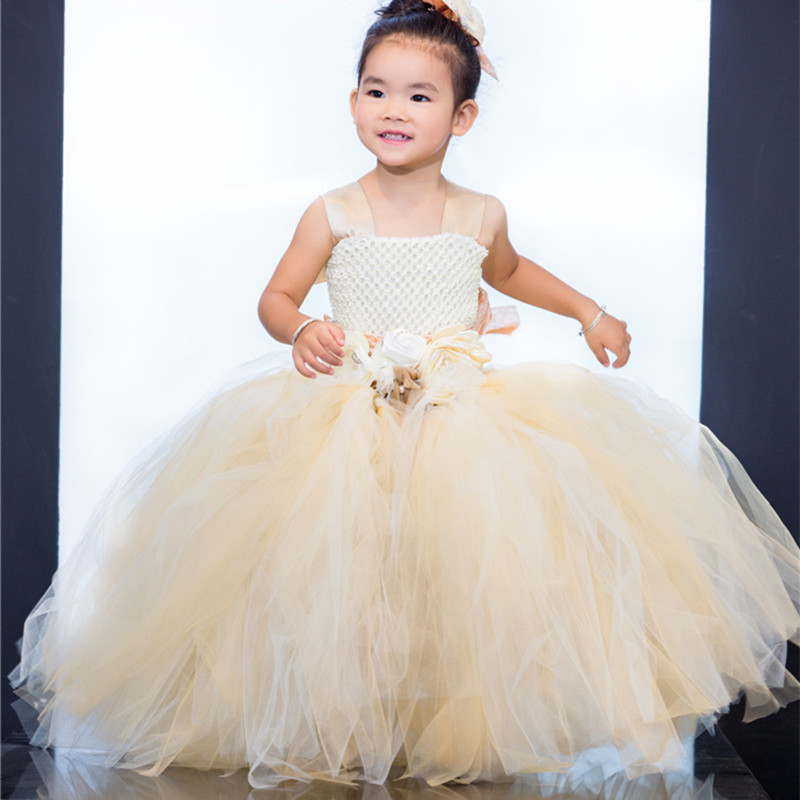 NEW HOT Nylon Tulle TUTU Flower Girl Dress Wedding Easter Junior Bridesmaid Dress Kids Party Princess