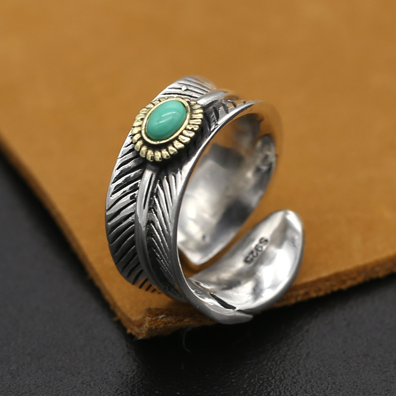 S925 Sterling Silver Jewelry Takahashi Goro Handmade Retro Thai Silver Feather Open Ended Ring Men And Women