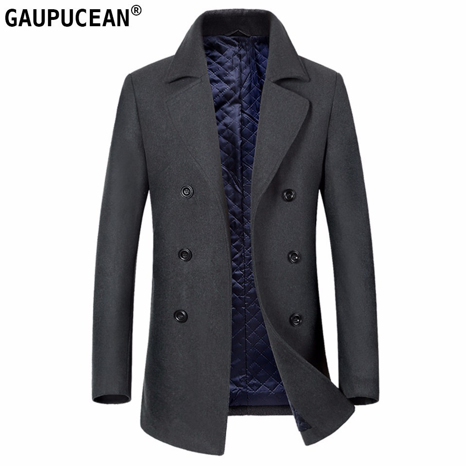 Man Wool Jacket Long Thick Quality Formal Business Grey Double Breasted Button Male Trench Pockets Overcoat Warm Men Woolen Coat