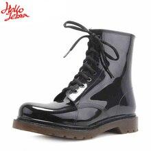 2016 новая мода Мужская обувь дождь сапоги Мужчины черные Мартин сапоги дождь обувь Водонепроницаемый Резиновая Матовый Обувь Rainday Воды Обувь