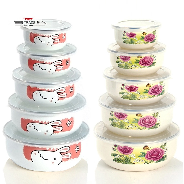 free shipping Enamel storage box set seal bowl retain freshness five pieces set circle lid lunch box mini cartoon with PP covers