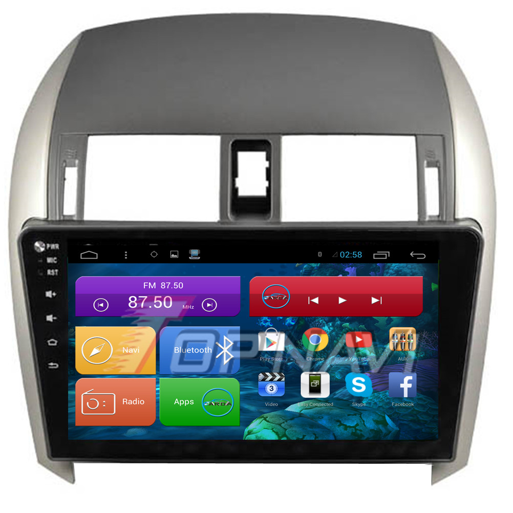 10.2'' Free Shipping Quad Core Android 4.4 Car Stereo for Toyota Corolla 2007 2008 2009 2010 2011 2012 2013  With Radio GPS Map
