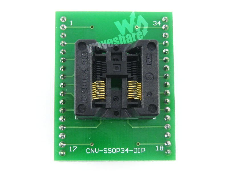 module Waveshare SSOP16 TO DIP16 TSSOP16 Enplas IC Adapter Test Burn-in Socket for SSOP16 Package 0.65mm Pitch