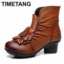 8a09b80c82f73 TIMETANG Herbst Und winter Fashion Echtes Leder Schuhe frauen Stiefel  Casual Frauen Dicke Heels Handgemachte Frau Stiefeletten
