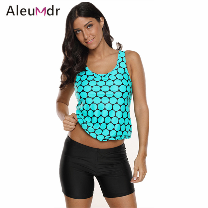 Aleumdr Plus Size Swimwear Women Summer Black Polka Dot Tank Top And Sport Swimsuit Women Two Pieces LC410689 Banadores Mujer plus size frill floral tank top