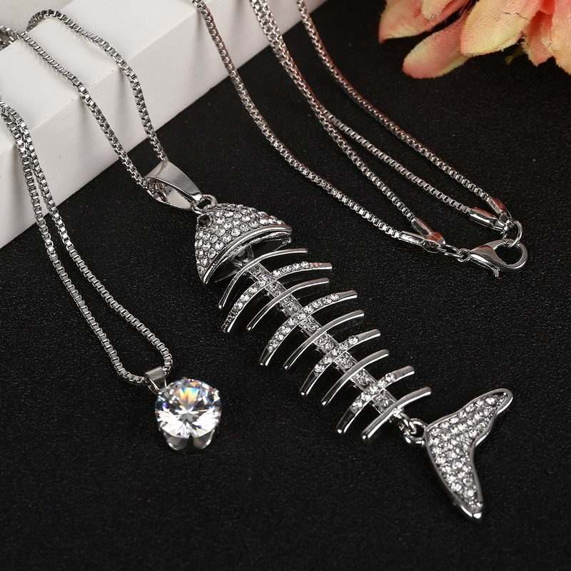 2016 new sale charms austria zircon crystal necklaces fish for Fish bone necklace