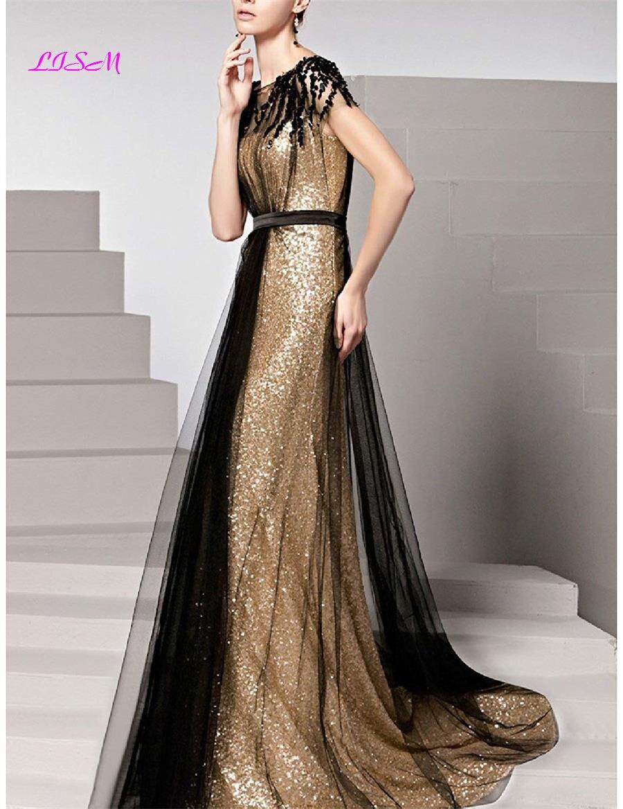 Paillettes longues robes de soirée Scoop Cap manches Tulle robe de bal élégant ruché Empire robes formelles vestidos de gala dames robe - 2