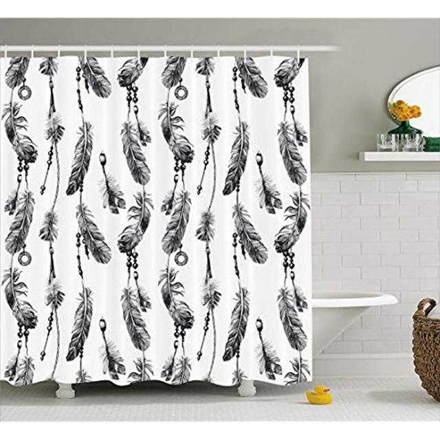 Vixm Tribal Shower Curtain Bohemian Feathers And Beads On Thread Graphic Pattern Native American Art Fabric Bath Curtains