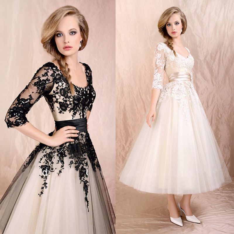 Popular Black and White Tea Length Wedding Dress-Buy Cheap Black ...