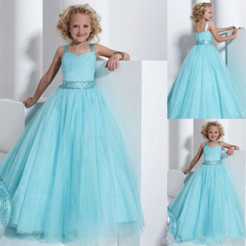 Robe princesse Tulle bleu ciel col carré taille 2-14 robe Pageant enfant en bas âge avec cristaux ceinture grande taille robe de demoiselle d'honneur Longo