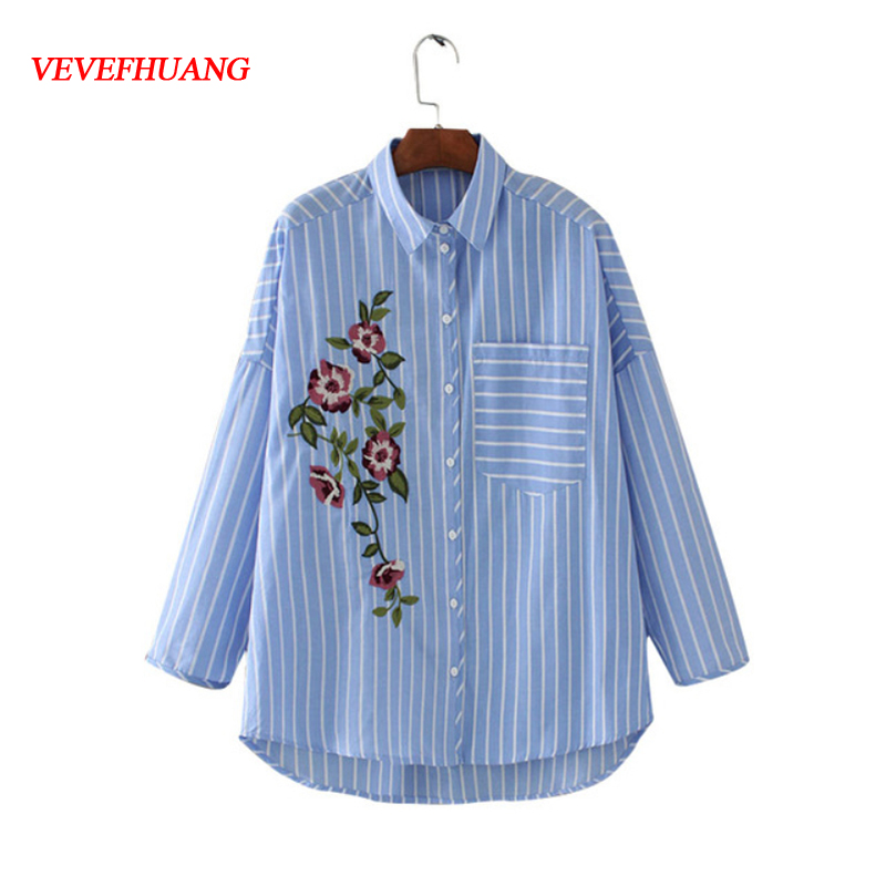 New Embroidery Women Blouse Shirt Long Sleeve Floral Striped Blouses Fashion Ladies Elegant Blue Pocket Female Beauty Clothes