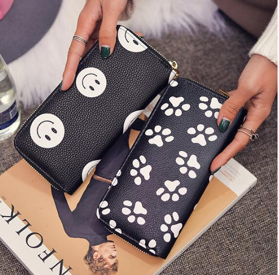 Hot Sale Wallet Women Clutch Smiling Face Paw Long Purse Card Holder Womens Wallets And Purses