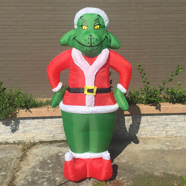 inflatable grinch 7 feet christmas decoration gemmy christmas dog costume santa for outdoor decoration airblown grinch - Christmas Blow Up Decorations Outside