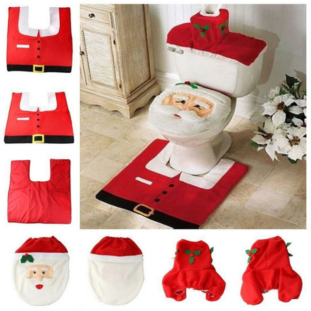 3Pcs/Set Fancy Santa Claus Rug Seat Bathroom Set Contour Rug Christmas Decoration Xmas Party Supplies New Year 2019