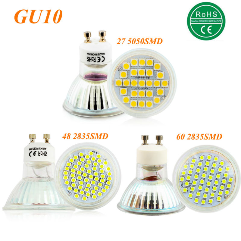 GU10 5W 6W 7W SMD 3528 27 48 60 LEDS Light Bulb With Glass Cover Warm White Cold White AC 220V 230V Spotlight Spot Lamp