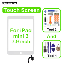 Touch Screen Digitizer For iPad Mini 3 Mini3 A1599 A1600 Front Glass Sensor Panel Replacement Home Button With IC Conector +Tool 10pcs dhl free checked for ipad mini 3 mini3 a1599 a1600 lcd screen digitizer panel assembly replacement part