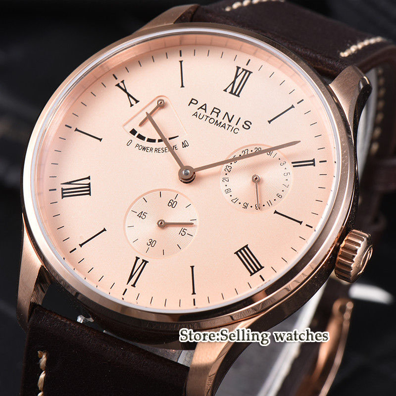 42mm parnis rose pink dial power reserve ST 1780 date automatic mens watch luxury brand 42mm parnis black dial white dial date 24 hour power reserve moon phase miyota 9100 automatic mens wrist watch p560