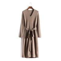 2019 Wool Dress Ukraine Limited Women Dress Winter New Cashmere Knit Slim Long Slit Temperament V neck Warm Long sleeved Female