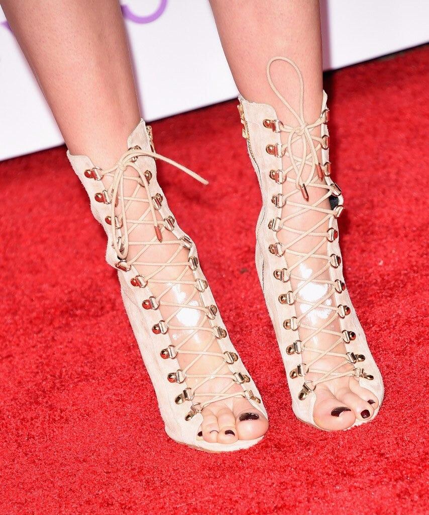 Chaussures Haut Toe Boule Robe Grande Beige De Femmes Lacent Sexy Dames Peep Cheville Talon Bottes Vert Partie Brun Taille Chaussons Talons 4IAapCn