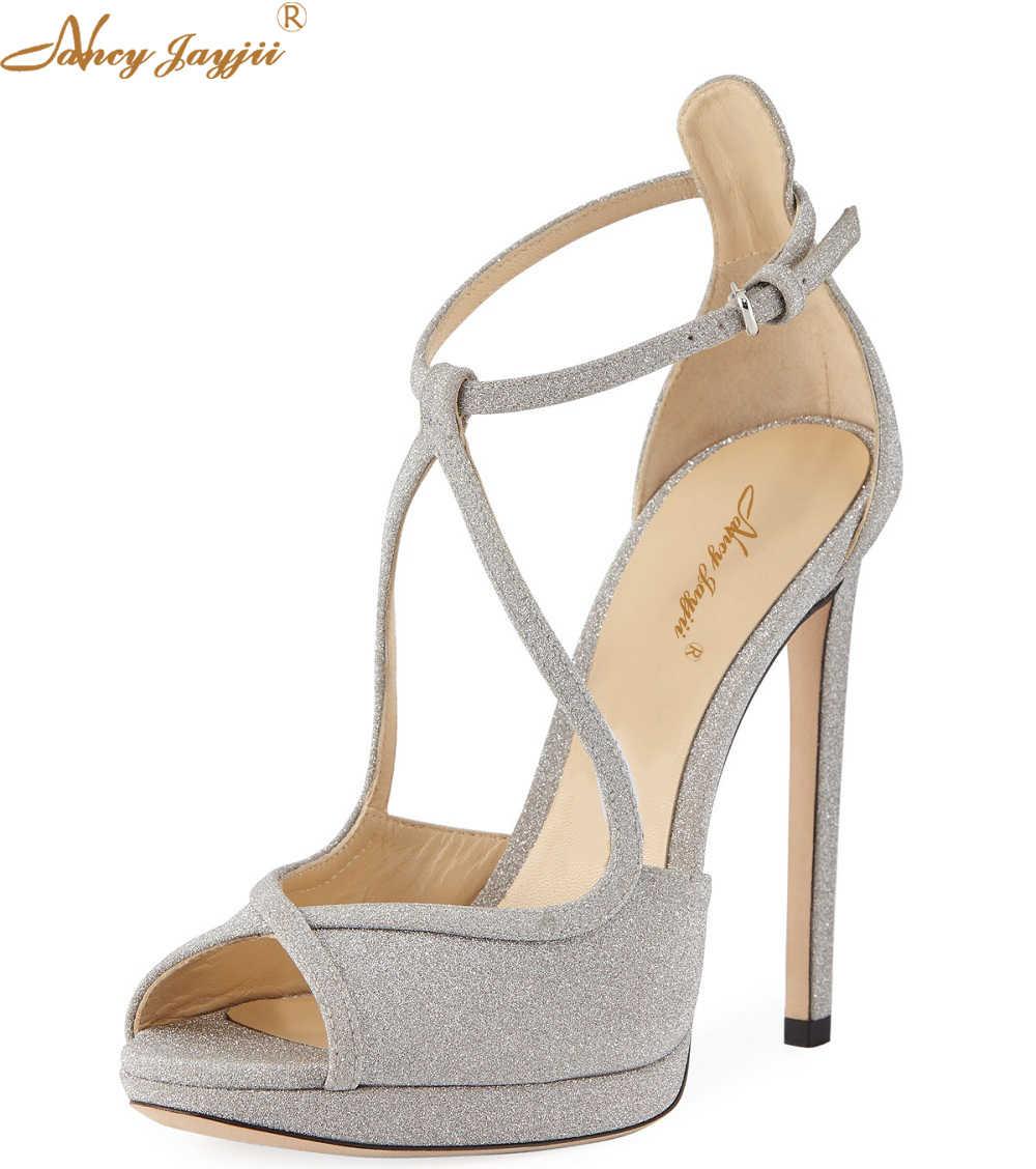 b3c4de1f5f0e Fawne Glitter Leather 120mm Sandal Woman Ankle Strap Pumps High Thin Heels  Peep Toe Party Dress