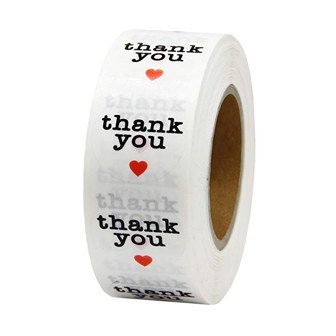 500pcs/roll Clear Round Thank You Sticker Seal Labels Stickers Scrapbooking For Package Stationery Transparent Pvc Sticker 1inch