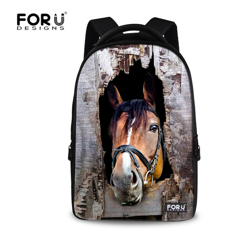 FORUDESIGNS 3D Animal Men Women Backpacks,Crazy Horse Printing Backpack for Teenager Boys,Back Pack Male Travel Bagpack Rucksack forudesigns 3d printing backpacks for teenager boys girls anime pokemon naruto men felt backpack casual school bagpack mochilas