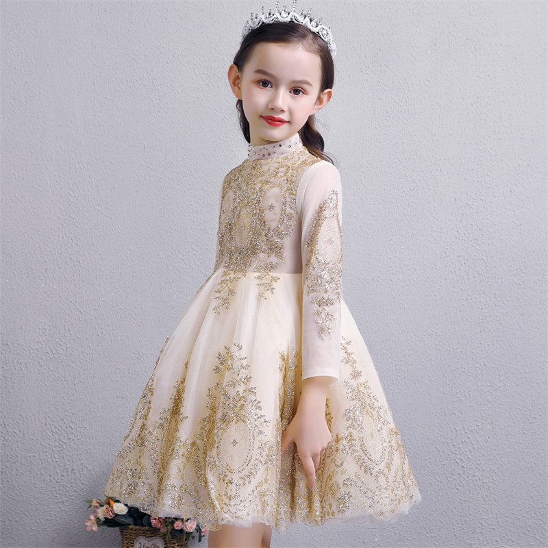 d653b0766327b 2019Spring New Kids Teens Model Show Performance Princess Sequined Dress  Children Girls Fashion Birthday Evening Party Dresses
