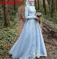 Плюс Размеры свет небесно голубое длинное рукавом мусульманские Вечерние платья 2019 симметричные Аппликации из кружев для выпускного бала