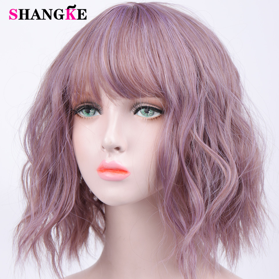 HTB1XDpbVgDqK1RjSZSyq6yxEVXaJ - Short Water Wave Synthetic Hair Mixed Purple and pink Wigs Available Cosplay Wig For Women Heat Resistant Fiber Daily Bob Wig